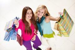 Compradores felices Imagen de archivo libre de regalías