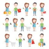 Compradores felices fijados stock de ilustración