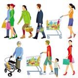 Compradores hacia fuera que hacen compras stock de ilustración