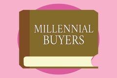 Compradores milenarios del texto de la escritura de la palabra Concepto del negocio para el tipo de consumidores que están intere stock de ilustración