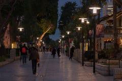 Compradores que caminan en la noche - siluetas - Tel Aviv Imagen de archivo