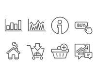 Comprando, adicione a compra e relate ícones do diagrama Compre o botão, os sinais do investimento e da contabilidade ilustração stock