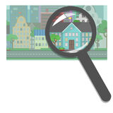 Comprando e vendendo bene immobile, agenzia immobiliare Prope pubblico Immagine Stock Libera da Diritti