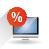 Comprando em linha e projeto do computador, ilustração do vetor Foto de Stock