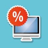 Comprando em linha e projeto do computador, ilustração do vetor, ilustração do vetor Foto de Stock