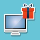 Comprando em linha e projeto do computador, ilustração do vetor, ilustração do vetor Fotografia de Stock