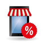 Comprando em linha e projeto do smartphone, ilustração do vetor Fotografia de Stock Royalty Free