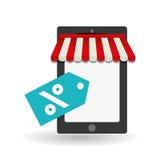 Comprando em linha e projeto do smartphone, ilustração do vetor Imagem de Stock Royalty Free