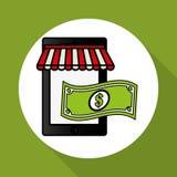 Comprando em linha e projeto do smartphone, ilustração do vetor, ilustração do vetor Imagem de Stock Royalty Free