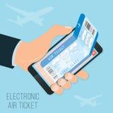 Comprando um airticket em linha Foto de Stock