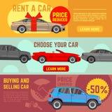 Comprando y vendiendo banderas del vector del coche fijadas stock de ilustración