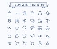 Compras, comercio electrónico, tienda en línea, línea fina miniiconos del vector del comercio electrónico fijados rejilla 24x24 P stock de ilustración