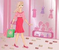 Compras con estilo de la mujer embarazada stock de ilustración