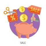 Compras de Internet e iconos planos de la venta Imagen de archivo
