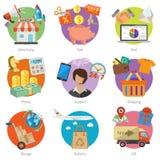 Compras de Internet y sistema plano del icono de la entrega Fotos de archivo libres de regalías