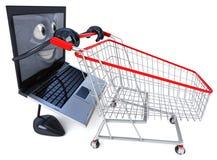 Compras de la computadora portátil stock de ilustración