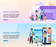 Compras de la familia en la alameda y la página de aterrizaje en línea stock de ilustración