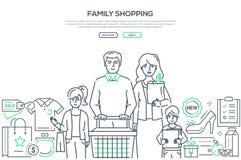 Compras de la familia - línea moderna bandera del estilo del diseño ilustración del vector