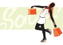 Compras de la muchacha stock de ilustración