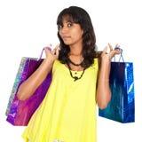 Compras de la muchacha de Desi Imagenes de archivo