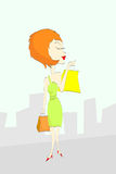 Compras de la mujer de la historieta stock de ilustración