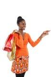 Compras de la mujer del afroamericano Imágenes de archivo libres de regalías