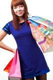 Compras de la mujer del jengibre Foto de archivo libre de regalías