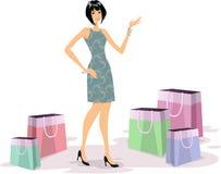 Compras de la mujer joven Imagen de archivo libre de regalías