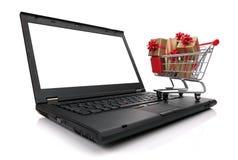 Compras de la Navidad en Internet imagen de archivo libre de regalías