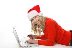 Compras de la Navidad en línea Imagenes de archivo