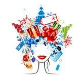 Compras de la Navidad, idea ilustración del vector