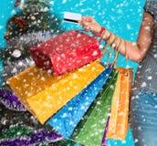 Compras de la Navidad, idea para su diseño Imagen de archivo