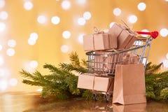 Compras de la Navidad y del Año Nuevo Fotografía de archivo