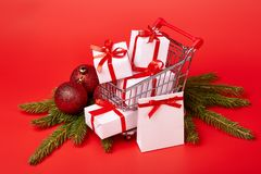 Compras de la Navidad y del Año Nuevo Fotos de archivo libres de regalías