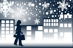 Compras de la noche de la Navidad ilustración del vector