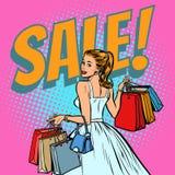 Compras de la novia, mujer con los bolsos stock de ilustración