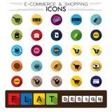 Compras del comercio electrónico de Internet y iconos planos del vector del diseño del negocio Imágenes de archivo libres de regalías