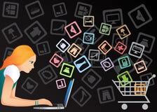Compras del Internet Imágenes de archivo libres de regalías