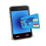 Compras del Internet con el teléfono elegante y de la tarjeta de crédito Fotos de archivo libres de regalías