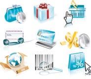 Compras del vector y conjunto del icono del consumerismo Fotos de archivo libres de regalías