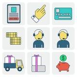 Compras e venda sobre o Internet ilustração stock