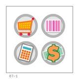 COMPRAS: El icono fijó 07 - la versión 1 Imagen de archivo libre de regalías