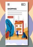 Compras en el ejemplo en línea de embarque del vector de las pantallas que hace compras libre illustration