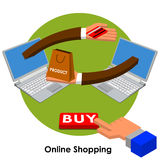 Compras en línea Imágenes de archivo libres de regalías