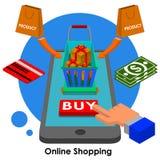 Compras en línea Fotografía de archivo libre de regalías
