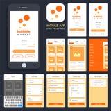 Compras en línea App móvil UI, pantallas de UX ilustración del vector