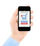 Compras en línea con el teléfono móvil Fotos de archivo libres de regalías