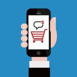 Compras en línea con el teléfono móvil ilustración del vector