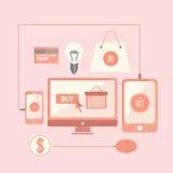 Compras en línea con los medios dispositivos Fotografía de archivo libre de regalías