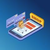 Compras en línea, concepto isométrico del ejemplo del vector del comercio electrónico stock de ilustración